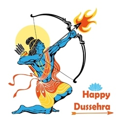 Lord rama with bow arrowhappy dussehra vector