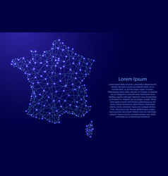 map of france from polygonal blue lines vector image