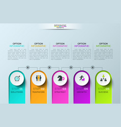 Modern infographic design template 5 elements vector