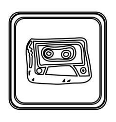 Monochrome contour with button of cassette tape vector