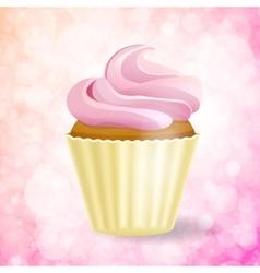 pink cupcake on Bokeh background vector image