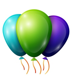 Realistic blue green purple balloons with ribbons vector image