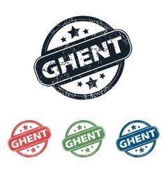 Round ghent city stamp set vector