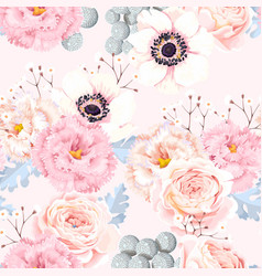 Seamless pattern with anemones and roses vector