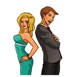 Self-confident woman and man vector image