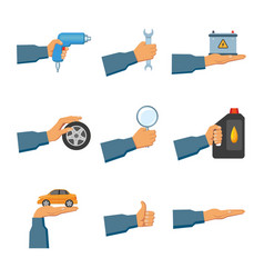 Set of auto service maintenance icons with hands vector
