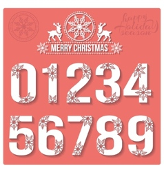 Set of christmas stylized numbers with snowflakes vector