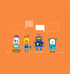 set of cute vintage robots vector image vector image