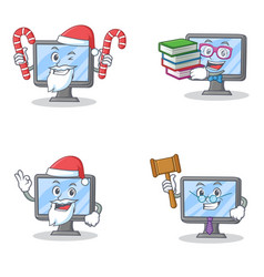 Set of monitor character with santa candy book and vector