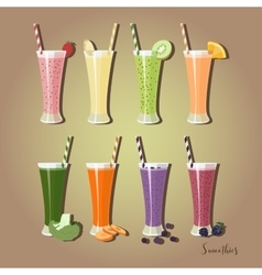 Set smoothies with different Ingredients vector image vector image