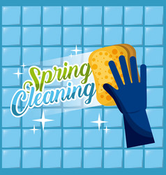 Spring cleaning blue glove with sponge wash the vector