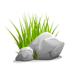 Stones with grass vector
