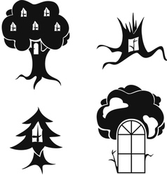 stylized image of trees with windows and doors vector image