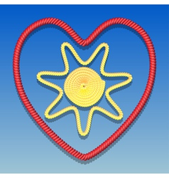 Sun in the heart vector image vector image