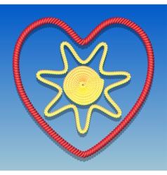 Sun in the heart vector