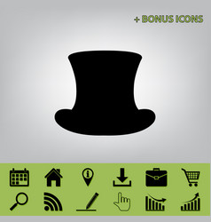 Top hat sign black icon at gray vector