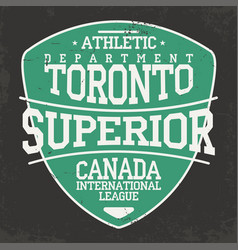 toronto canada sportswear emblem in shield form vector image vector image