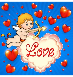 Valentines Day card with cupid vector image vector image