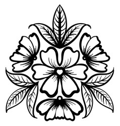 Wild rose flowers drawing and sketch line-art vector