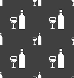 Wine icon sign seamless pattern on a gray vector