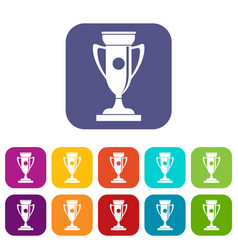 winning cup icons set vector image vector image