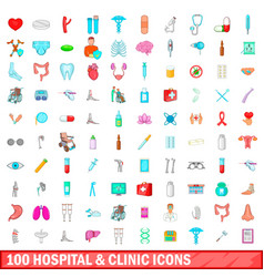 100 hospital and clinic icons set cartoon style vector
