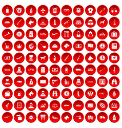100 smuggling icons set red vector