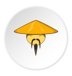 Asian man in hat icon cartoon style vector