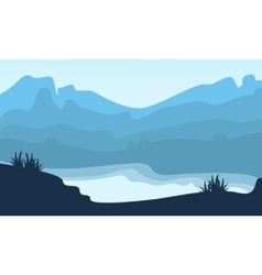 Silhouette of hill and lake scenery vector