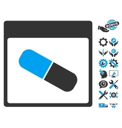 Drugs capsule calendar page icon with bonus vector