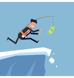 Businessman or manager is running after money to a vector