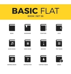 Basic set of book icons vector