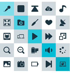 Multimedia icons set collection of pause cloud vector