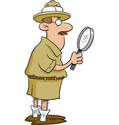 Cartoon explorer holding a magnifying glass vector