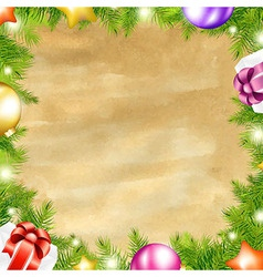 Christmas retro background with xmas fir tree vector