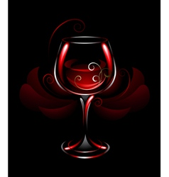 Wineglass of red wine vector