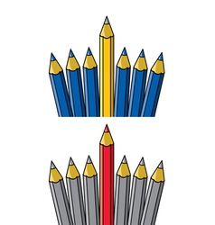 Pencil standing out from others vector