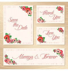 Save the date set of wedding invitation cards vector