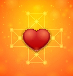 Heart on an orange background vector image
