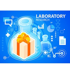 Bright laboratory research and gift box with vector