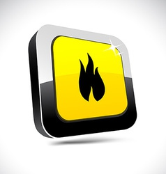 Fire 3d square button vector