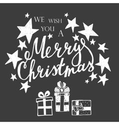 Merry christmas lettering on a black background vector