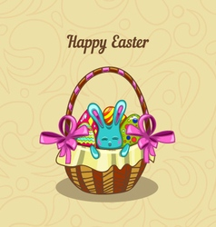 Greeting card with easter bunny in a basket vector