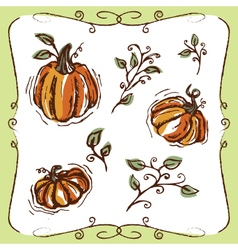 Pumpkins Vines and Swirly Ornaments vector image