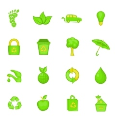 Nature icons set cartoon style vector