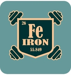 Shield with iron text and dumbbells vector