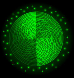 Abstract green neon round glow light effect vector