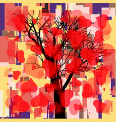 Abstract square fall composition with tree and vector