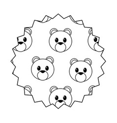 bear cartoon seal stamp vector image