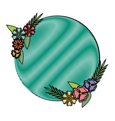 Beautiful flower frame round spring decoration vector